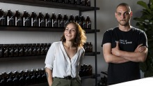 Rahel Goldmann and Ron Davis at their new sustainability-focused wine bar Glou in Collingwood.