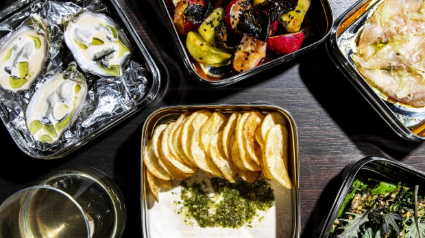 Glou serves wine and brings in snacks from nearby Mono-XO.