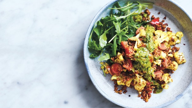Cauliflower and 'chorizo' scramble with spicy green sauce Eat More Veganby Luke Hines, published by Plum, RRP $26.99. Photography:Mark Roper Single use print/online