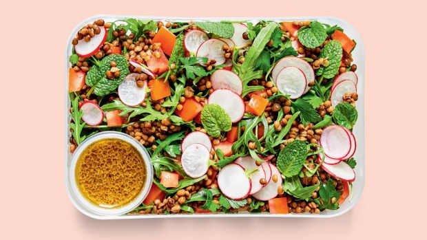 Curriedegglesssalad wrap Falafel salad Lentil, radish & herb salad Sesamesobanoodle This is an edited extract fromThe 5-Minute VeganLunchboxby Alexander Hart,published by Smith Street Books Single use print & online