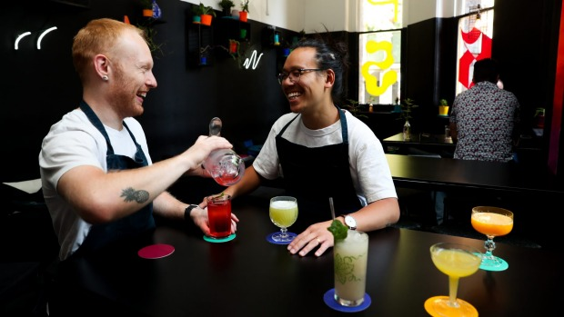 PS40 bartender Peter Seabrook and owner Michael Chiem making non alcoholic cocktails.