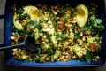 Farro salad with corn, chickpeas and avocado.