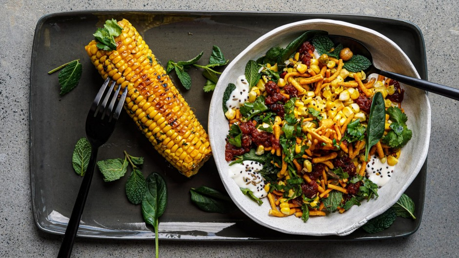 Slice the kernels into the chaat or eat the corn straight off the cob - you choose.