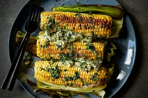 Corn on the cob with coriander butter.