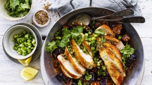 Chicken with fish-fragrant eggplant.