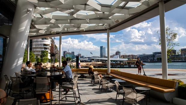 Woodcut has a rock-star location by the water at Barangaroo, with a broad, shady terrace.