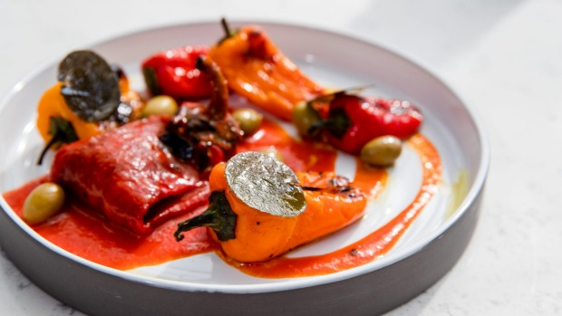 Lipstick peppers, Bruny Island olives, caper leaves.