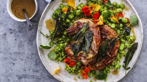 Pork chops with broad beans and bagna cauda (top left).