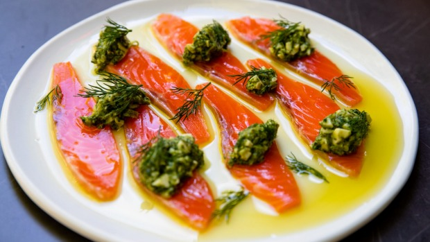 Cured ocean trout with sauce gribiche.