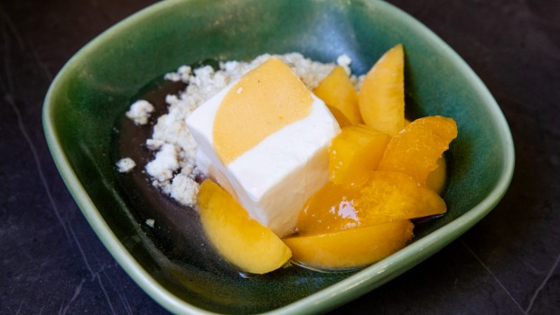 Macerated peach and coconut sorbet.