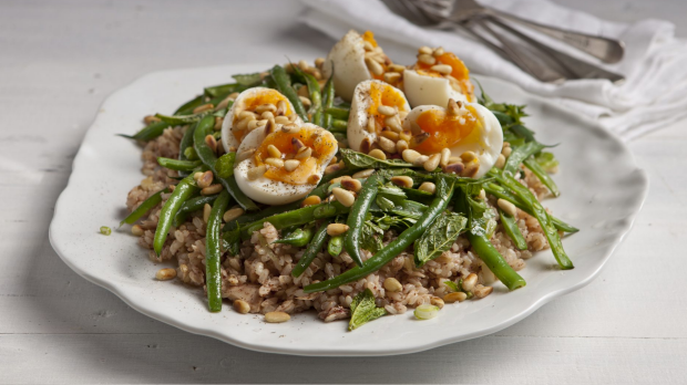 Tuna, brown rice , sumac & green bean salad with eggs. Karen Martini HEALTHY ME recipes for Epicure and Good Living. Photographed by Marina Oliphant. Styling by Caroline Velik, platter from Montreaux, MUST CREDIT. Photographed September 4, 2012. The Age Newspaper and The SMH.