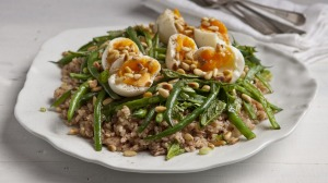 Tuna, brown rice, sumac and green bean salad with soft-boiled eggs.