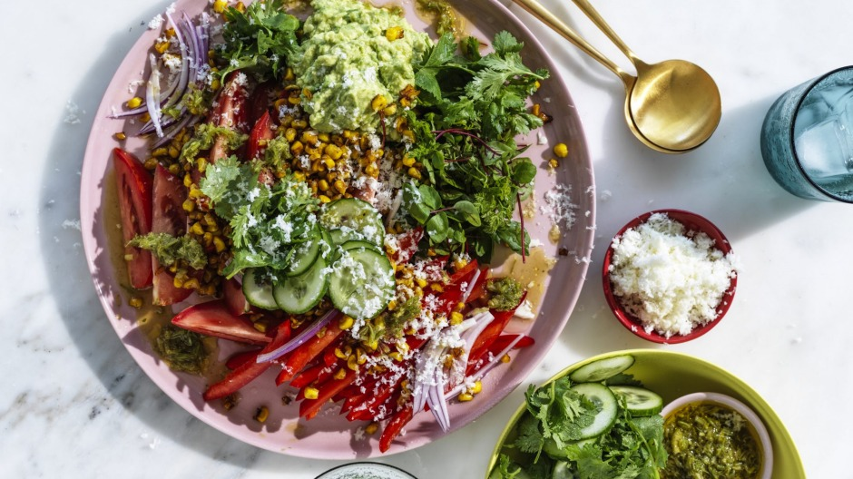 Mexican salad with coriander, lime and black pepper dressing.