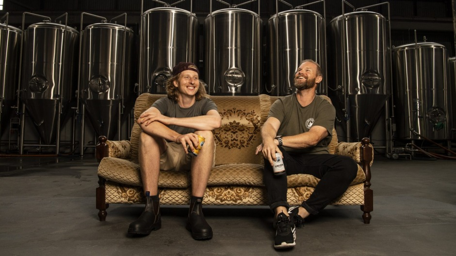 White Bay Beer co-founders Dennis de Boer and Tim Fishwick in their Rozelle brewery.