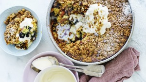 This crumble cake works with many combinations of fruit.
