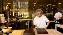 Chocolatier Millie Jung making couverture chocolate at Messina's headquarters in Sydney.