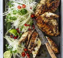Barbecued chicken with cumin, coriander, lemongrass and ginger.