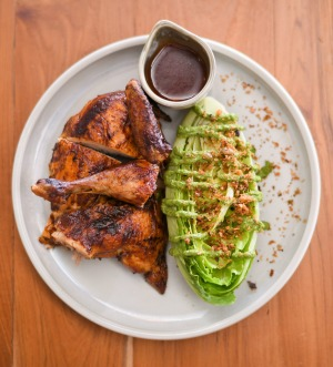 Portuguese chicken with green goddess salad.