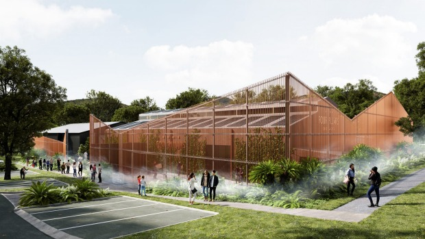 Artist's impression of the dramatic copper veil that will pay tribute to Four Pillars' gin stills.
