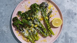Barbecued broccolini with pecorino and lemon.