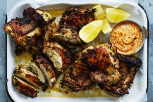 Neil Perry's barbecued marinated chicken with spicy mayonnaise.
