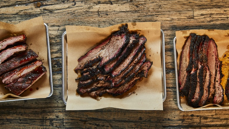 Texas-style barbecue pork (left) and brisket.