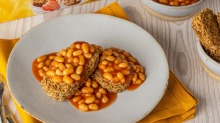 Dry bricks of cereal covered with baked beans - ewww, gross.