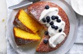 Fresh corn and coconut cake served with coconut yoghurt and blueberries.