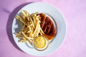 Rosy duck breast is perfectly bistro-appropriate, but then perfectly not a classic steak frites at Bistrot 916.