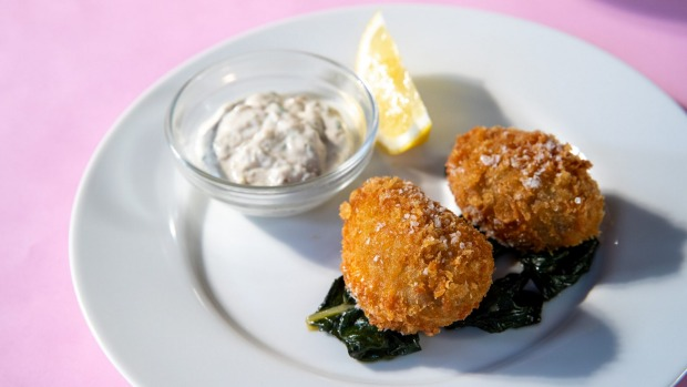 Lambs brains with eel mayonnaise.