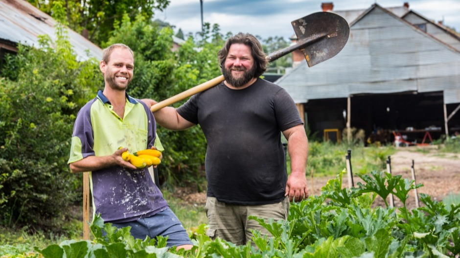 Griffin Cook (left) and Joshua Collings of Acres and Acres co-operative in Corryong Victoria.