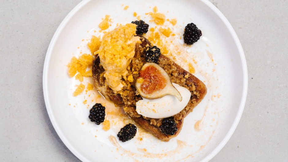Brioche french toast with blackberries, black figs, freeze-dried mandarin and Golden Gaytime-inspired ice-cream at Soul ...