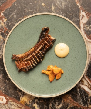 Grilled pork rib with oyster emulsion.