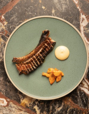 Grilled pork rib with oyster emulsion at Etta.