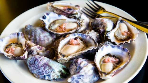 Appellation oysters, Chinkiang vinaigrette.