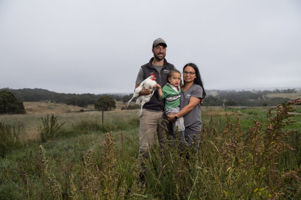 Luke and Pia Winder with their son at Tathra Place Free Range. The family-run farm supplies high-end restaurants ...
