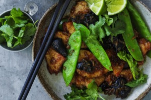Thai-style pork and snow pea stir-fry.
