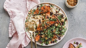 Falafel crumble  adds texture and interest to  roasted sweet potato wedges.