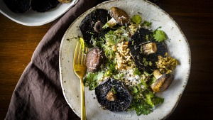 Roasted mushrooms with buckwheat pilaf and a shower of parmesan.