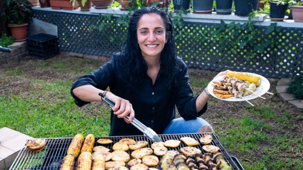 Chef Sharon Salloum from Almond Bar cooking a vegetarium bbq at her families home in Granville. 26th Feb 2021. Photo: Edwina Pickles / SMH Good Food.