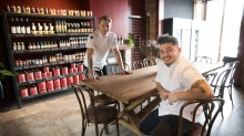 Andrea Vignali (left) and Davide Bonadiman at their new venture, Al Dente Enoteca.