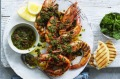 Grilled prawns with chermoula.