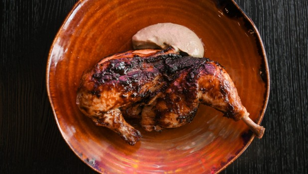 Blackened chicken with eggplant and miso puree.