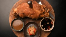Pata (deep-fried pork knuckle with condiments).
