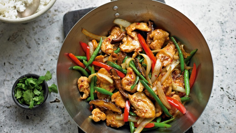 Serve this spicy chickenstir-fry with rice or noodles.