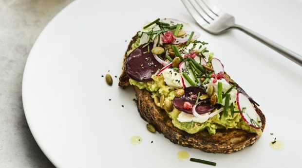 Nathan Toleman and Sarah Foletta's avocado toast with feta, radish and beetroot. For Good Food story on the World's Longest Brunch, March 2021. Pic credit: Sharyn Cairns
