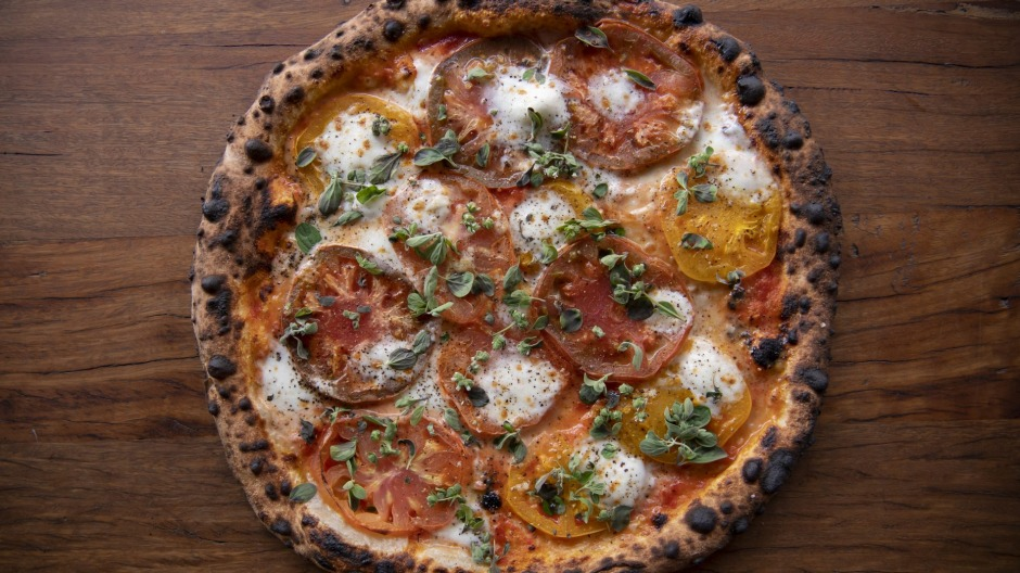 Impressively local: Tomato heirloom pizza.