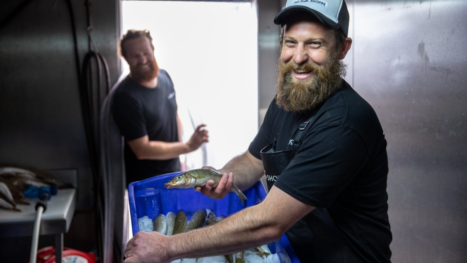 Josh Pearce, owner of The Fish Shoppe, with fresh King George whiting from Corner Inlet.