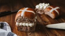 Hot cross buns filled with Sicilian citrus-studded ricotta from Cannoleria by That's Amore Cheese.