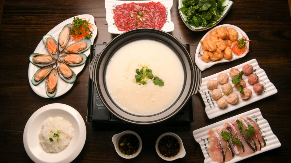 Shunde-style porridge base hotpot with seafood, sliced beef and delicate fish and pork balls.
